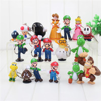 Wholesale Super Mario Peach - Super Mario 18pcs set PVC Super Mario Bros keychain Luigi Yoshi Peach Mushroom Toad Shy Guy Action Figures Gift OPP retail