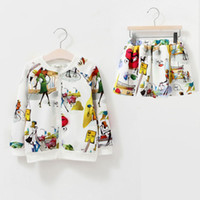 Wholesale girls skirt coat - Fall girls clothing set long sleeve print Kids coat and skirt 2pcs fashion girls clothes children outfit