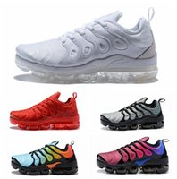 Wholesale flat packing - Hot Vapormax TN Plus Men Women Running Shoes For Male Shoe Olive White Silver Black Colorways Pack Triple Black Mens Sports Sneakers