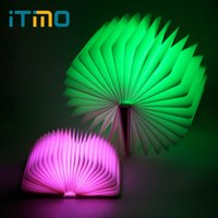 Wholesale Table Lamps Usb Ports - iTimo LED Book Shaped Night Light Rechargeable Book Lights USB Port Birthday Gift for Kids Home Decor Folding Table Lamp