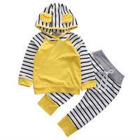 kızlar sarı pamuklu üst toptan satış-2 adet Bebek Erkek Kız Spor Sonbahar Sarı Pamuk Uzun Kollu Kapşonlu Sweatshirt Üst + Uzun Çizgili Pantolon Kıyafetler Giyim Seti
