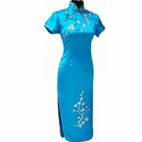 китайское платье ручной работы оптовых-Blue Handmade Embroidery Flower Chinese Women Cheongsam Silk Satin Long Qipao Elegant Slim Dress Size S M L XL XXL XXXL WC038