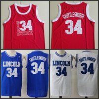 Wholesale black lincoln - 2018 Hot Sale Movie Jesus Shuttlesworth Lincoln High School #34 Ray Allen Jersey Film He Got Game Movie Basketball Jersey Blue Stitched