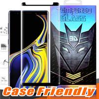 ingrosso colla per il corpo-Case Friendly Full Glue Piccola versione in vetro temperato per Samsung Galaxy Note 9 8 S10 S9 S8 Plus S7Edge Note9 3D Curve Clear Screen Protector