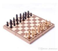 xadrez dobrável venda por atacado-Conjunto de Tabuleiro de Xadrez, Deluxe Tabuleiro de Jogo de Torneio Dobrável com Sacos De Armazenamento e Genuínas Peças de Madeira Manchadas Intrincadamente Esculpidas, Ótimo para Viagem