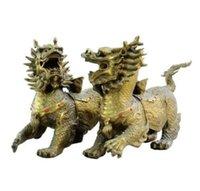 ingrosso drago fengshui-FengShui cinese ottone intagliato guardia male drago Kylin QiLin Beast Statue Pair