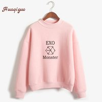 Wholesale exo k - Kpop Exo Sweatshirt Women Autumn Winter Harajuku Casual Hoodies Letters Printed Bts Fleece Pullover K -Pop Clothes Drop Shipping