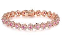 Wholesale Beaded Diamond Bracelets - BAMOER 7 Colors Rose Gold Color Chain Link Bracelet for Women Ladies Shining AAA Cubic Zircon Crystal Jewelry Gift JIB012
