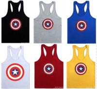 Wholesale boys singlets - Captain America Men Sleeveless Vest Shirts Gym Men Tank Top boys Hurdles Singlets t-shirts Bodybuilding Fitness Vests Exercise sports Wear