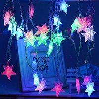 led yıldızlı şekilli ışıklar toptan satış-5 M 28 YILDIZ Şekilli LED Dize Peri Işıklar Tatil Aydınlatma Noel ışıkları sevgililer Günü Işıkları 33FT 220 V Kıvılcım Dize AB Tak
