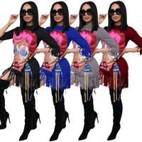 frauen langarmhemd muster großhandel-Arbeiten Sie 2018 Musterdruck-lose Kleid Frauen-Sommer-beiläufige Minit-shirt Kleidlaterne Hülse O-Ansatz lange Hülsen-elegantes Partei-Strand-Kleid um