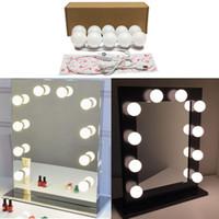 ingrosso kit di alimentazione-Specchietto per il trucco di vanità con luci stile vanity Kit per illuminazione di vanità con 10 lampadine cosmetiche per condimento Alimentatore USB in cabina