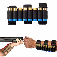 ingrosso titolari di munizioni-Airsoft Caccia Molle 8 colpi GA Shotgun Shells Holder Shooting Arm Band 12 Gauge Bullet Ammo Cartridge Pouch