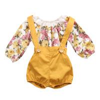 ingrosso vestiti della principessa della ragazza-Summer Baby Girl Floral Abiti Vestiti Neonati Ragazze Ragazze Principessa Lace Pagliaccetti + Pantaloncini Set di vestiti a maniche lunghe