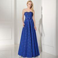 ingrosso dres blu prom-Charme sempre bella Royal Blue Prom Dresses lungo 2018 con una linea Zipper Piano Lunghezza e pizzo di alta qualità sera Dres