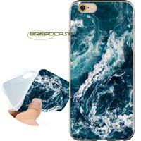 ingrosso apple iphone 4s blu-Custodie Shell blu profondo Fundas Waves per iPhone 10 X 7 8 6S 6 Plus 5S 5 SE 5C 4S 4 iPod Touch 6 5 Cover in silicone TPU trasparente.