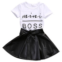 2018 New Fashion Toddler Kids Girl Clothes Set Summer Short Sleeve Mini Boss T-shirt Tops + Leather Skirt 2PCS Outfit Child Suit
