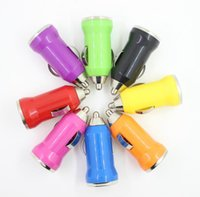 portable iphone charger großhandel-Für Iphone6 USB Car Charger Bunte Kugel Mini Car Charge Portable Ladegerät Universal Adapter Für Iphone 5 5 S 200 Stücke Dhl-freies Verschiffen