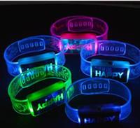 Wholesale kids party favors bracelets resale online - Led Rave Toy Happy Word Flashing Wristband Glow Bangles Bands Jelly Bracelets s s Fancy Dress Kid Party Favors Presents LED Armband