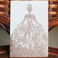 cartões de casamento exclusivos venda por atacado-New Unique Rose Gold Glitter Laser Cut Princesa Cartões de Convite de Casamento de Alta Qualidade personalizado Oco Flor Nupcial, Livre Enviado por DHL