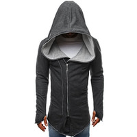 Wholesale assassins creed jacket for sale - Men Hooded With Black Gown Fashion Hip Hop Loose Mantle Hoodies Assassin Creed Sweatshirts Jacket Cloak Coats Outwear