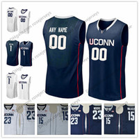 Wholesale Uconn Basketball - Custom Uconn Huskies College Basketball white navy blue Personalized Stitched Any Name Number 4 Jalen Adams1 Christian Vital Jerseys S-3XL