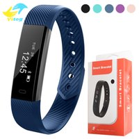 Wholesale Android Iphone App - 115 Smart Bracelet Fitness Tracker Step Counter Activity Monitor Band Alarm Clock Vibration Wristband for iphone With DayDay APP