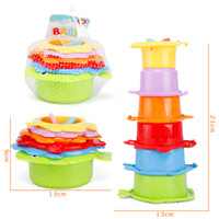 Wholesale ocean games online - Baby Initiation Learning Education Toys Colorful Fun Ocean Stacked Cup Parent Child Game Bathing Intelligence Toy yy W