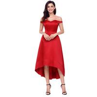 ingrosso abiti da sera di stile basso basso-ultimo stile sexy rosso High-shine High-low Party Abito da sera con prezzo basso