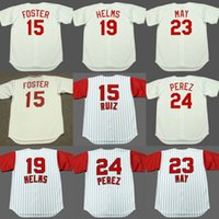 Wholesale 1969 Baseball - Men Youth 24 TONY PEREZ 23 LEE MAY 19 TOMMY HELMS 15 GEORGE FOSTER Cincinnati 1969 1960 1971 1975 Throwback Baseball Jersey stitched