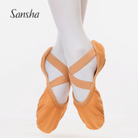 Wholesale v wedges - Sansha V-shape Side Cut With Full Leather Sole Soft Dance Shoes Build-in Stretch Fabric Ballet Slippers FR22C