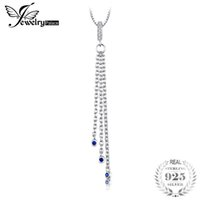Wholesale natural sapphire pendant silver - JewelryPalace Fashion Created Blue Sapphires Tassel Pendant For Women Real 925 Sterling Silver Fine Jewelry Not Include A Chain
