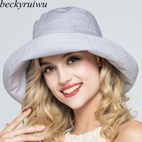 c157af8b423 Lady Summer Beach Wide Brim Fisherman Hat Women Fashion Cotton and Linen Big  Bowknot Plain Bucket Hat
