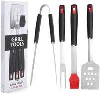 ingrosso set di spazzolini-Multifunzionale Camping BBQ Grill Set di strumenti Pennello per spazzola Spatola Apri Pinze Forcella 4 Pz All'interno Utensile professionale NNA358
