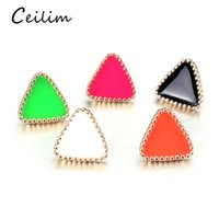 Wholesale western jewelry for women wholesale - Fashion 1Pair Western Triangle Geometric Earring Different Candy Color Earrings For Women Small Simple Stud Earrings Korean Style Jewelry