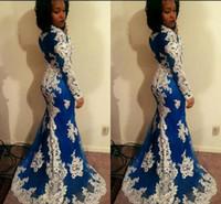 modèles pour robes de soirée achat en gros de-2018 motif formel robes de bal bleu foncé pétale de fleurs à manches longues tache gaine naturelle robes de soirée
