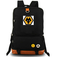 Wholesale team soccer bags - Wolverhampton backpack Wanderers football club daypack Soccer Wolves team schoolbag Leisure rucksack Sport school bag Outdoor day pack