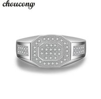 Wholesale antique wedding bands men resale online - choucong Antique Men ring Pave set A Zircon Cz Sterling silver male Bijoux Emgagement Wedding Band Ring for father gift
