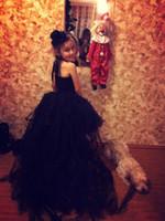 çocuklar için siyah tutuş toptan satış-Siyah Kızlar Tutu Elbise Ile Tren Tül Kız Balo Elbise Çocuk Çiçek Kız Parti Elbise Muhteşem Çocuklar Cadılar Bayramı Kostümleri