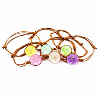 продажа бус ручной работы оптовых-Hot sale Summer Style mix 1pcs/lot Dried Flowers Glass Ball Bracelet Handmade Woven Lucky Flower Glass  Bangles Adjustable