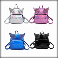 Wholesale cute rucksacks - 4 Colors New Hologram Laser Backpack Cute Girls Shoulder Bag Women Small Bling Sequins Angle Wings Backpack Outdoor Rucksack CCA9959 50pcs