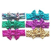 Wholesale babies green hairs for sale - Group buy Beach Bow Headbands for baby kids Mermaid Scales Hair bows Baby girl Lovely hair accessories Elastic Summer