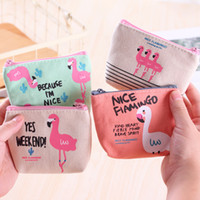 Wholesale money makeup - Baby Flamingo Coin Purse cartoon kids Accessories Flamingo print wallet zipper pocket money Storage bag cute makeup bags C4416