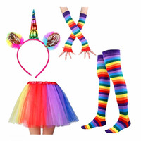 Wholesale lace bands for hair resale online - 2018 New Unicorn Hair Band Rainbow Gloves Socks Lace Unicorn Dress Sets TUTU Skirts Rainbow Headband Hair Hoop for Party Cosplay
