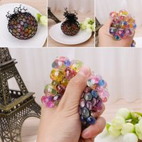 Wholesale squeezing balls free online - New Funny Rubber Grape Ball Black Mesh Squeeze Toy Stress Autism Mood Relief Gadget with dhl