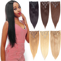 Wholesale clip in human hair extensions online - Full Head Clip Brazilian Silky Straight Virgin Hair American African Hair Clip in Human Remy Hair Extensions For Black Women g Clips