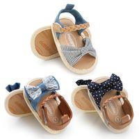 leinwand baby sandale großhandel-Baby Mädchen Sandalen Sommer Baby Mädchen Schuhe Baumwolle Leinwand gepunkteten Bogen Sandalen Neugeborenen Schuhe Playtoday Beach