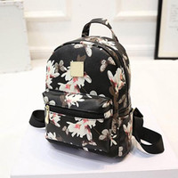 Wholesale trendy new backpack - Wholesale- New Trendy Women's Floral Printed Satchel School Bookbag Shoulder Bag Rucksack Backpack