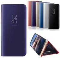 cajas del teléfono del tirón del metal al por mayor-Estuche de espejo galvanizado para Galaxy Note 10 S10 Plus S10 iPhone XS MAX XR Funda con tapa abatible Kickstand Holder Fundas para teléfono con caja al por menor