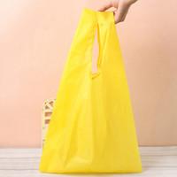 эко-квадратные сумки оптовых-2017 Square Pocket Shopping Bag Candy 7 colors Available Eco-friendly Reusable Folding Handle Polyester foldable shopping bag
